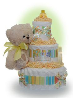 Our Proud Parents diaper celebrates the new Mommy and Daddy who will be smiling from ear to ear when talking about their new bundle of joy.  This diaper cake offers Pamper diapers and a plush teddy for the baby.  We add in Johnson and Johnson baby care products to help in the care of the new baby. Only $67.00