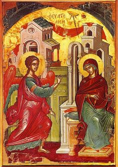 Eastern orthodox icon of the Annunciation of the Most Holy Theotokos, Panagia, Virgin Mary, the Mother of God Copy of an icon of 16 cent. by Theophanis the Cretan, from Stavronikita Monastery in Mount Athos. Religious Icons, Religious Art, Jesus In The Temple, Assumption Of Mary, Art Antique, Russian Icons, Christian Religions, Byzantine Art, Byzantine Icons
