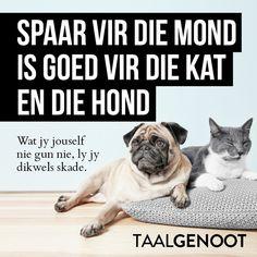 Spaar vir die mond is goed vir die kat en die hond. Afrikaans Quotes, Animals, Instagram, Education, The Moon, Animales, Animaux, Training, Animal