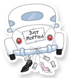 Dibujos. Clipart. Digi stamp - Wedding - Just Married Car Stop by my Etsy Shop: www.etsy.com/shop/TeoldDesign