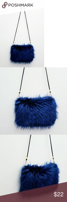 "Cobalt Faux Fur Crossbody NWOT - 12 x 8"" Price is Firm Cobalt Faux Fur  Black Lining & Black PU Strap  Removable to use as a Clutch Bags Crossbody Bags"