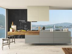 LACQUERED KITCHEN WITH ISLAND WITHOUT HANDLES CLOE 01 | CESAR ARREDAMENTI