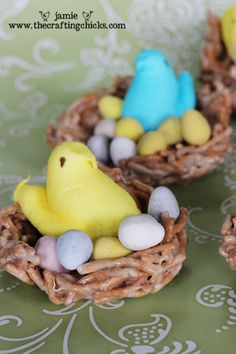Chow mein noodle nests with peeps...cute! Site also has FREE printable tags for giving as gifts