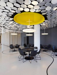 Der Spiegel's Cafe/Canteen by Ippolito Fleitz Group, Hamburg office design hotels and restaurants --- I like the ceiling concept here Corporate Office Design, Office Space Design, Corporate Interiors, Workplace Design, Office Interior Design, Best Interior, Office Interiors, Cabaret, Commercial Office Design