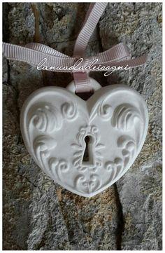 Cuore di gesso profumato bomboniere matrimonio
