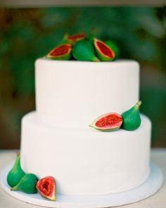 Red velvet cake accented with fresh figs.