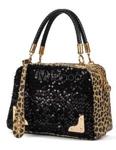 Enticing Black Horizontal Shape Sequin Leopard Print PU Leather Tote Bag For Women - Milanoo.com