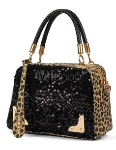Enticing Black Horizontal Shape Sequin Leopard Print PU Leather Tote Bag For Women - Milanoo.com