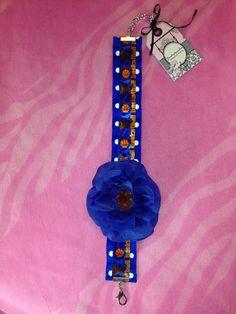 Navy blue flower dog necklace on Etsy, $18.00
