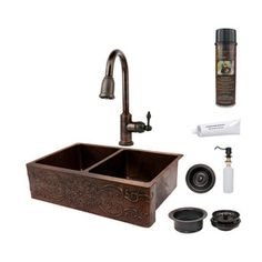 Kitchen ~ Premier Copper Products�Double-Basin Apron Front/Farmhouse Copper Kitchen Sink with Faucet