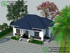Biệt thự vườn 1 tầng mái thái NDBT1T22 Kerala House Design, Small House Design, Modern House Design, Modern Bungalow House, Craftsman Style House Plans, Steel Framing, Small Villa, House Plans Mansion, Model House Plan