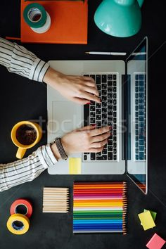 Laptop with blank notepad and pencil with set of color samples on old wooden table stock photo (c) Sibstock (#8438939) | Stockfresh
