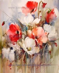 Poppies 20 / Papoulas painting by artist Fabio Cembranelli Watercolor And Ink, Watercolour Painting, Watercolor Flowers, Watercolours, Art Abstrait, Abstract Flowers, Beautiful Paintings, Flower Art, Art Projects