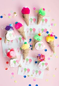 The Cutest Mini Pom Pom Ice Cream Party Favors. These also make a fun party craft kids can make. #spon