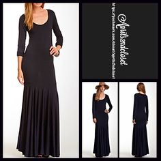 "Black Maxi Dress Long Sleeves RETAIL PRICE: $168  NEW WITH TAGS  Black Maxi Dress Long Sleeves    * A 'mermaid' fit-and-flare style * Incredibly soft & comfy stretch to fit fabric. * Scoop neck & long sleeves.  * Solid 2 panel construction.    * About long 60"" long.  Fabric: 90% Modal & 10% spandex; Machine wash. Made in the USA.  Color: Black Item:  No Trades ✅ Offers Considered*✅ Bundle Discounts ✅ *Please use the blue 'offer' button to submit an offer. Go Couture Dresses Maxi"