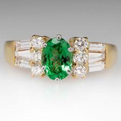 Untreated 1.3 Carat Tsavorite Garnet & Diamond Ring 18K