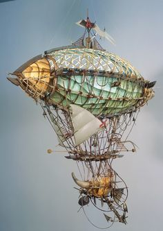 """The absurd number of ropes/lines that hold the zeppelin to the ship gives it the risky """"I just slapped this together and it somehow works"""" vibe that I love about steampunk concepts. Steampunk Ship, Steampunk Kunst, Steampunk Artwork, Mode Steampunk, Steampunk Fashion, Fantasy World, Fantasy Art, Dieselpunk, Hot Air Balloon"""