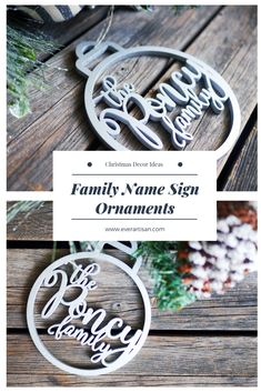 Laser cut family name Christmas tree ornaments. Great for your holiday decor and/or gifts. Office Christmas, Pink Christmas, Christmas Holidays, Christmas Projects, Christmas Trees, Xmas, Unique Christmas Decorations, Vintage Christmas Ornaments, Victorian Christmas