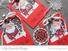 Santa tags by Nichol Magouirk - using MFT Jingle All The Way stamps and dies and Die-namics Insert It Frame