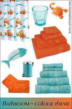 Aqua Blue and Orange Bathroom