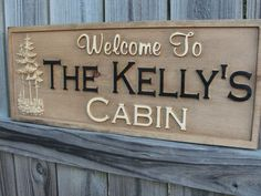 Personalized Family Name sign on Etsy. This would be perfect for the Kelly family cabin!