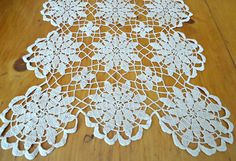 Doily Crocheted Runner Doily Vintage Ecru Doilies Centerpiece   B109 by treasurecoveally on Etsy
