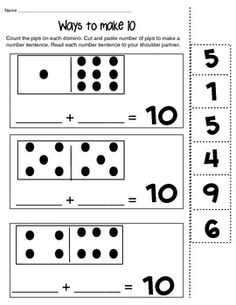 Ways to Make 6,8 and 10 math composing number worksheet. A quick activity that is great for morning work to review simple addition sentences. $