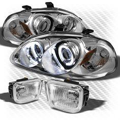 For 96-98 Honda Civic Halo Projector Headlights+Fog Lights Lamp+Bulbs+Switch