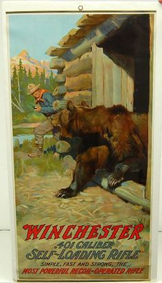 Winchester poster, c 1910 Tarzan, Rifles, Hunting Art, Hunting Guns, Deer Hunting, Cowboy Art, Mountain Man, Pulp Art, Sports Art