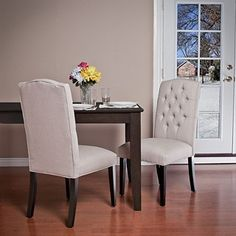 Crown Fabric Off-white Dining Chairs (Set of 2) // Overstock.com, $225.99