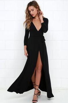 Garden District Black Wrap Maxi Dress