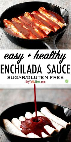 This enchilada sauce is SO GOOD! You'd never guess it was healthy. It tastes great on enchiladas, on enchilada stuffed peppers, and as a dip for oven baked fries. #veganrecipes #plantbased #glutenfreerecipes #oilfree #sugarfree #enchiladas #mexicanfoodrecipes | keytomylime.com