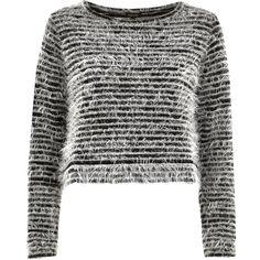 Black stripe fluffy knitted top - knitted tops - knitwear - women