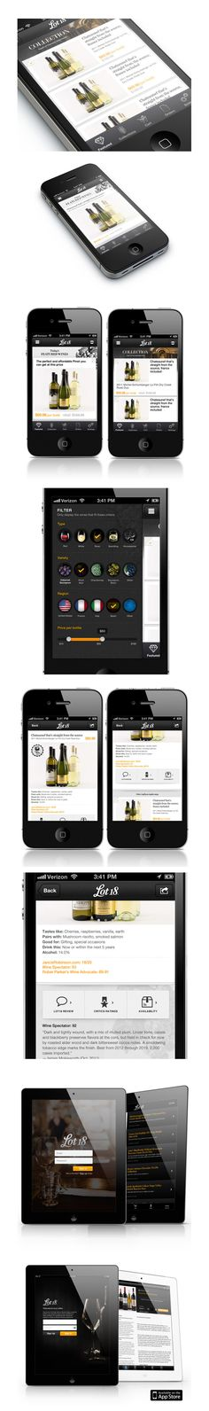 Lot18 Wine Application for iPhone/Pad. Excellent typography, clean design.