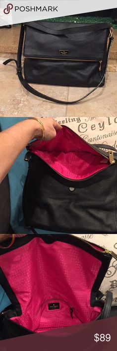 Kate Spade New York black Leather Bag 14x12x5 Used ones there are few scarce on the Logo in front, but perfect condition, Shoulder-bag looks like New, very soft Leather, kate spade Bags Shoulder Bags