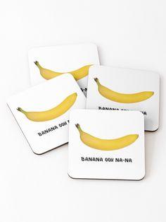 """Banana ooh na-na"" Coasters (Set of by Michalala Cold Drinks, Coaster Set, Sunglasses Case, Banana, Prints, Decor, Cool Drinks, Decoration, Bananas"