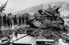 Sherman tank tipped over