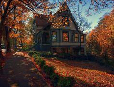 Lovely Victorian House in Autumn trees autumn leaves house fall colors victorian architecture Eureka Springs, Up House, Cozy House, All Nature, Autumn Home, Happy Autumn, Autumn Art, House Goals, My New Room