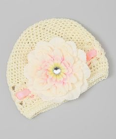 Another great find on #zulily! Cream & Pink Flower Crocheted Beanie by The Bow Lady #zulilyfinds