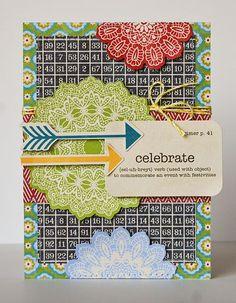 Celebrate Card by Pam Brown via Jillibean Soup Blog