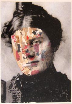"""Masquerade"" Collage and gel medium print on plexi glass."