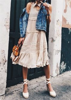 Beige dress & denim.