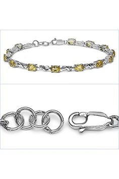 Silvanc  Womens Bracelet 75  925 Sterling Silver  Genuine Gemstone Citrine  B201C_SSR -- Click image for more details.