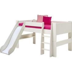 Steens For Kids Mid Sleeper With Slide With Slide In Whitewash - The Steen's For Kids range offers up stylish, practical pieces ideal for children's bedrooms. With a white wash finish and simple, solid shapes a versatile range is created. Strong and sturdy, built to last.