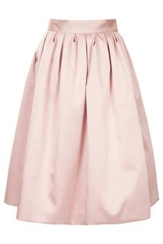 Pink duchess satin midi skirt.  Love the tucks at the waistline!