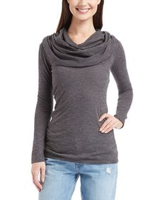 This Charcoal Ribbed Cowl Neck Tunic is perfect! #zulilyfinds
