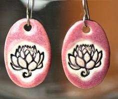 Lotus Flower Ceramic Earrings in Pink by surly on Etsy, $22.00