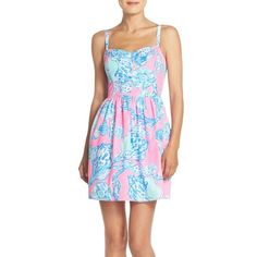 Lilly Pulitzer 'Ardleigh' Print Cotton Fit & Flare Dress ($178) ❤ liked on Polyvore featuring dresses, pink pout barefoot princess, blue sundress, blue sleeveless dress, sleeveless dress, pink dress and sleeveless sundress
