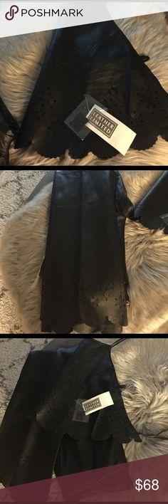 Pants and top Leather halter top with matching leather pants never been worn.. pant have design at bottom no hem... Leather Limited Other