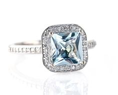 14K Princess Aquamarine Diamond Engagement Ring Aquamarine Ring Diamond Halo Custom Bridal Jewelry